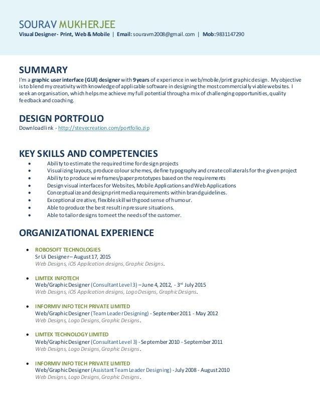 SOURAV MUKHERJEE Visual Designer- Print, Web& Mobile | Email: souravm2008@gmail.com | Mob:9831147290 SUMMARY I'm a graphic...