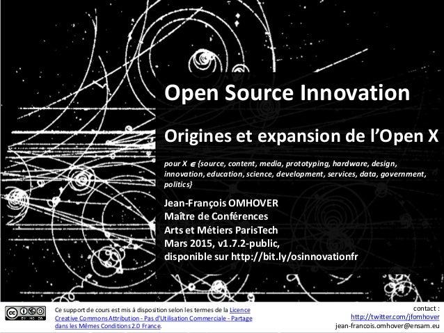 Open Source Innovation Origines et expansion de l'Open X Jean-François OMHOVER Maître de Conférences Arts et Métiers Paris...