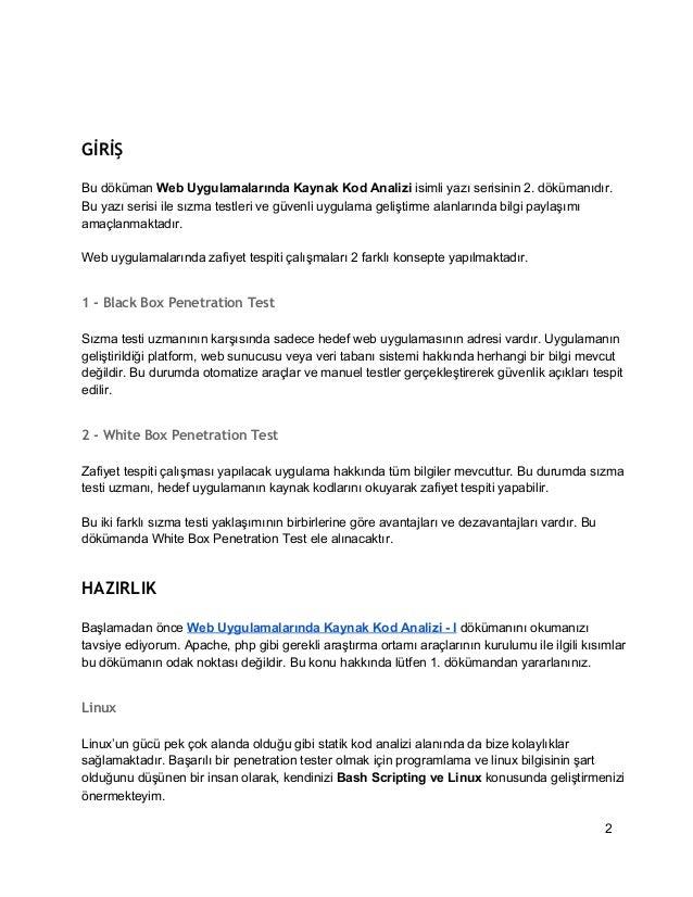 Web UygulamalarındaKayank KodAnalizi– II Slide 2