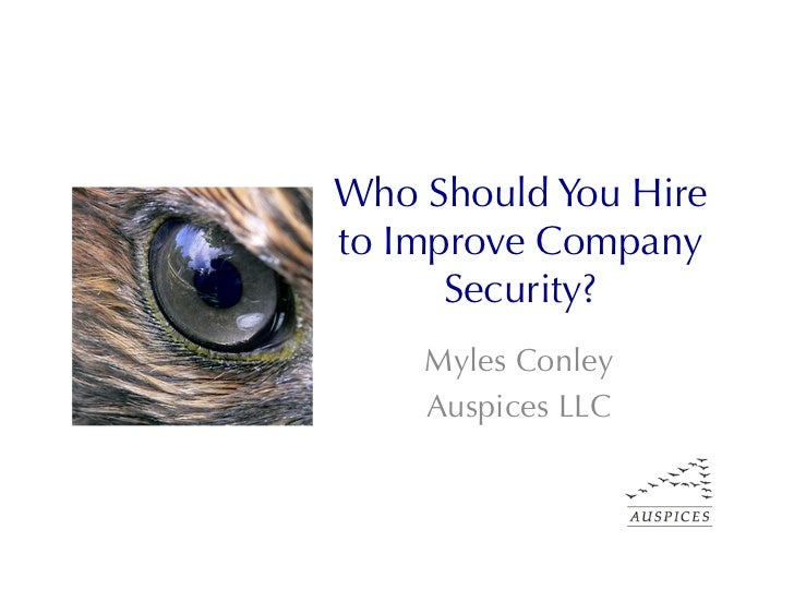 Who Should You Hireto Improve Company      Security?    Myles Conley    Auspices LLC