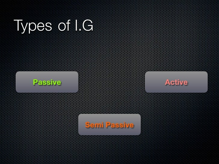 Types	 of I.G      Passive                  Active                  Semi Passive