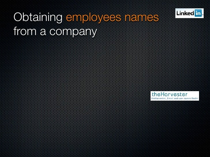 Obtaining employees names from a company