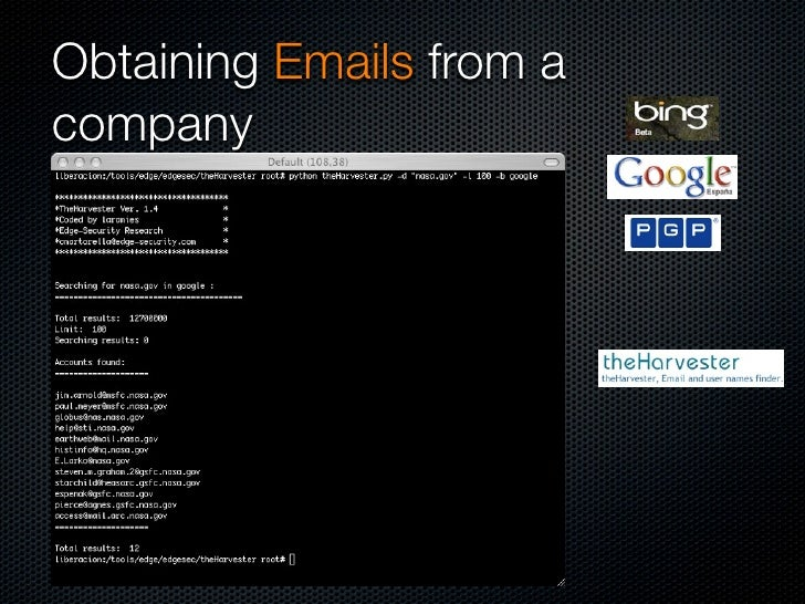 Obtaining Emails from a company
