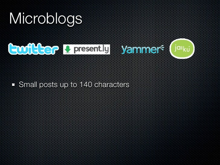 Microblogs     Small posts up to 140 characters