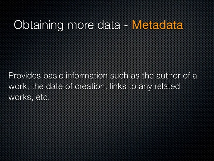 Metadata - Images EXIF Exchangeable Image File Format • GPS coordinates • Time • Camera type • Serial number • Sometimes u...
