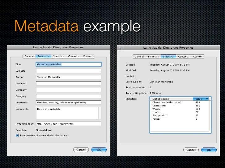 Metadata - example