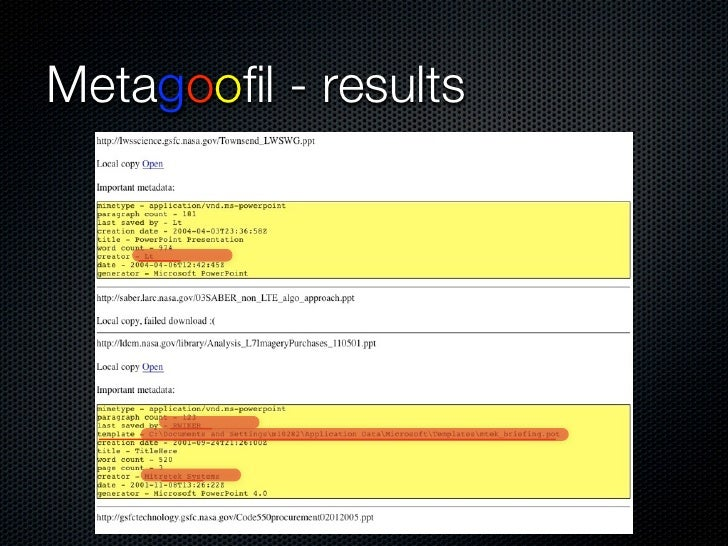 Metagoofil - results