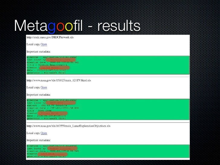 "Metadata - The Revisionist           Tool developed by Michal Zalewski, this tool will          extract comments and ""Trac..."