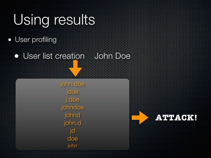 Using results Password profiling  Dictionary creation: words from the different user sites                     magic       ...