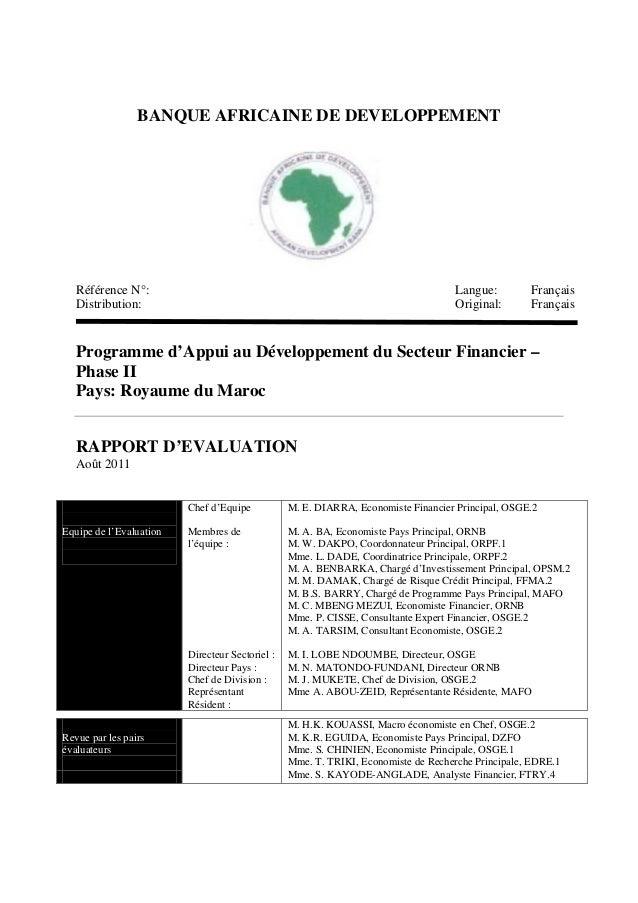 BANQUE AFRICAINE DE DEVELOPPEMENT Référence N°: Langue: Français Distribution: Original: Français Programme d'Appui au Dév...