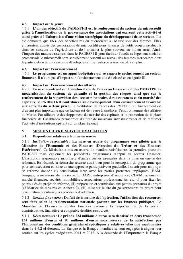 18 4.5 Impact sur le genre 4.5.1 L'un des objectifs du PADESFI-II est le renforcement du secteur du microcrédit grâce à l'...
