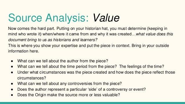 how to write a source analysis