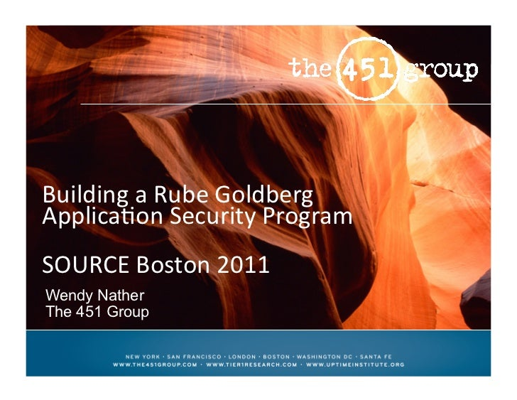 Building	  a	  Rube	  Goldberg	  Applica3on	  Security	  Program	  SOURCE	  Boston	  2011	  	  Wendy NatherThe 451 Group