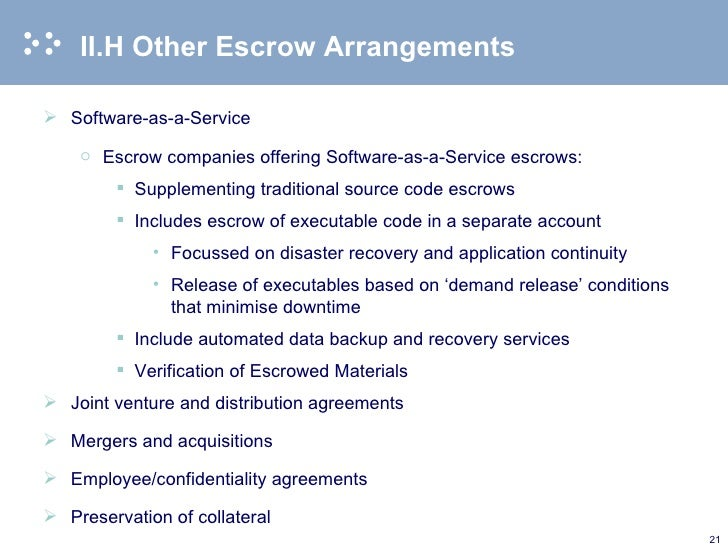 Source Code Escrow Agreements 2010 02 12