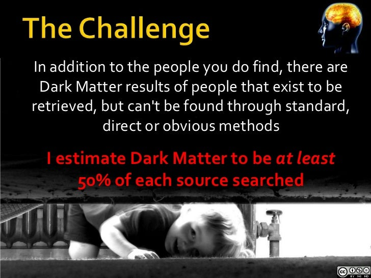 In addition to the people you do find, there are Dark Matter results of people that exist to beretrieved, but cant be foun...