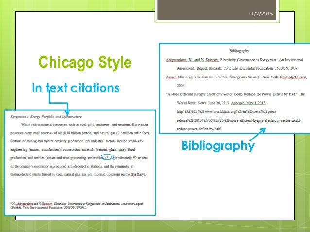 example of chicago style citation Chicago offers two citation formats, the standard bibilographic format and the  author-date reference format, each of which provides conventions.