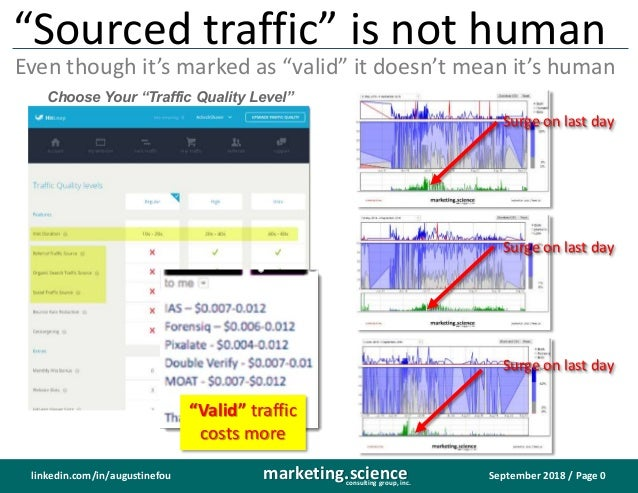 """September 2018 / Page 0marketing.scienceconsulting group, inc. linkedin.com/in/augustinefou """"Sourced traffic"""" is not human..."""