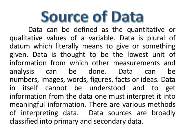 Source of data in research