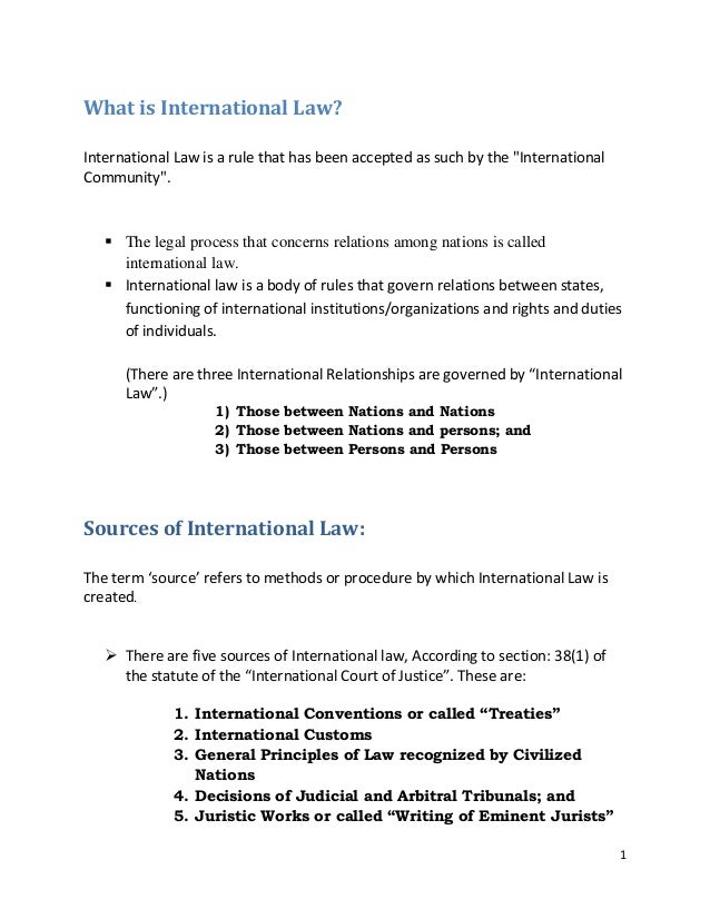 """What is International Law? International Law is a rule that has been accepted as such by the """"International Community"""".  ..."""