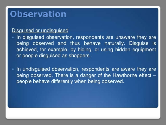 disguised observation