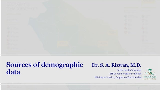 Sources of demographic data Dr. S. A. Rizwan, M.D. Public Health Specialist SBPM, Joint Program – Riyadh Ministry of Healt...