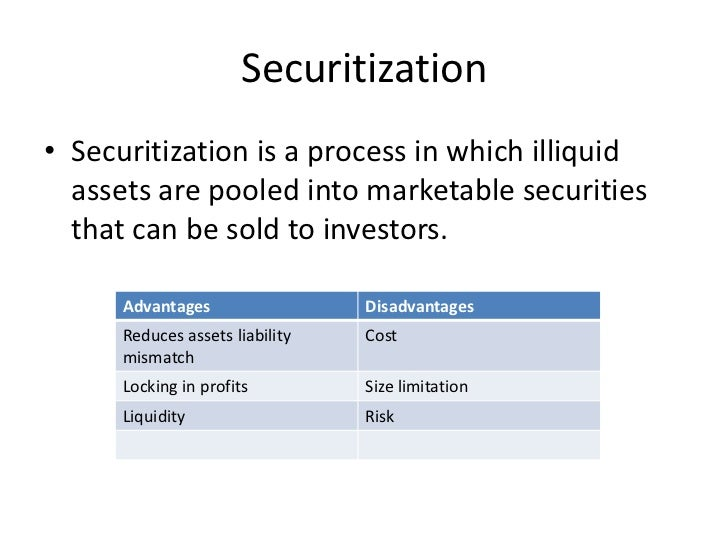 Securitization• Securitization is a process in which illiquid  assets are pooled into marketable securities  that can be s...