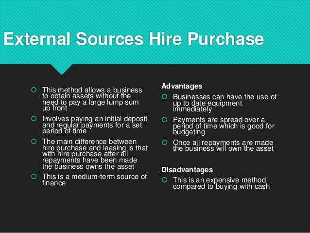 advantages and disadvantages of the hire purchase and operating lease Hire purchase or outright purchase - which is best and what are the advantages and disadvantages of hire purchase discover more in our comparative blog.