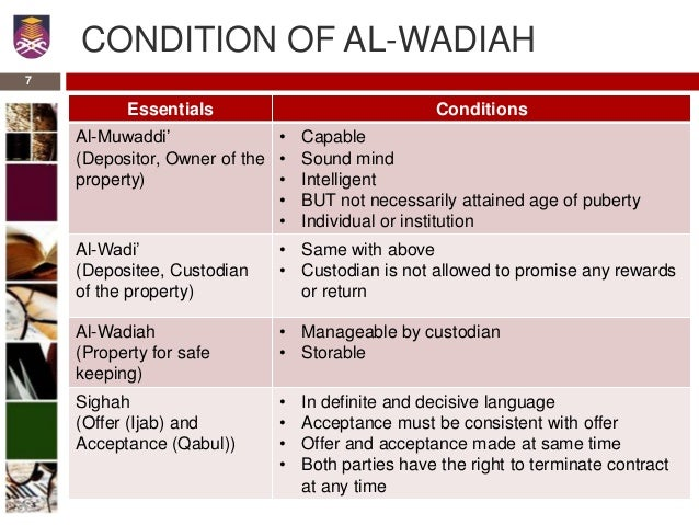 contract of wadiah Wadiah yad dhamanah english: savings or deposits with guarantee definition: goods or deposits entrusted to the care of a person, who is not the owner, for safekeeping.