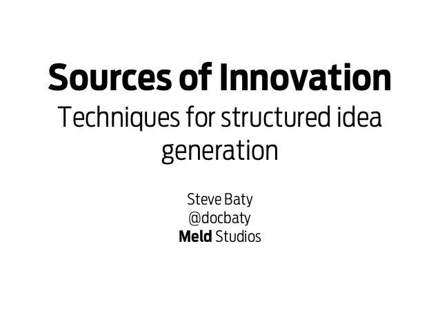 Sources of InnovationTechniques for structured idea        generation            Steve Baty            @docbaty           ...