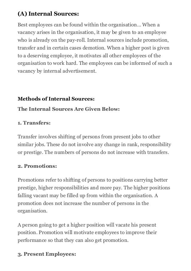 internal and external recruitment Understand and differentiate between strategic recruitment and selection  candidate pool via internal or external recruitment methods vacant or new position.