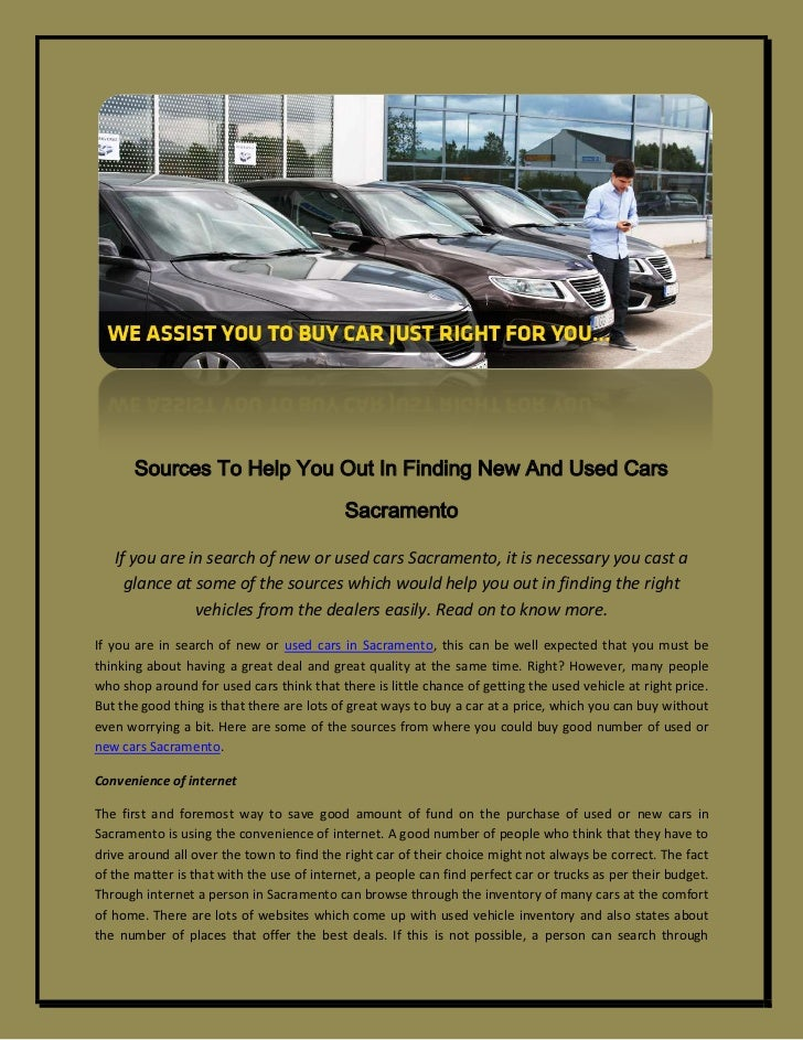 Sources To Help You Out In Finding New And Used Cars Sacramento