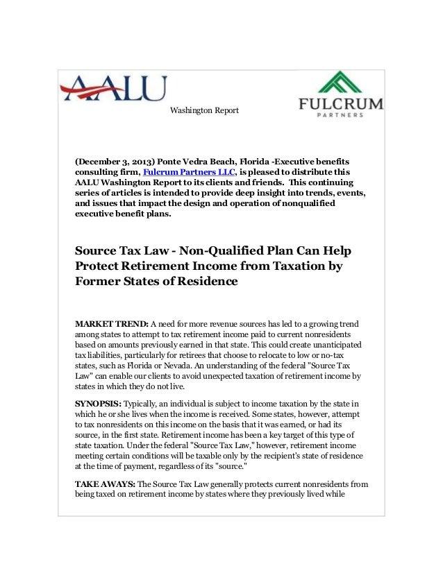 Washington Report (December 3, 2013) Ponte Vedra Beach, Florida -Executive benefits consulting firm, Fulcrum Partners LLC,...