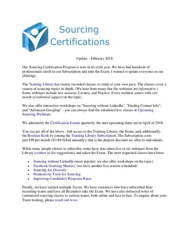 Sourcing Certifications Update 2018