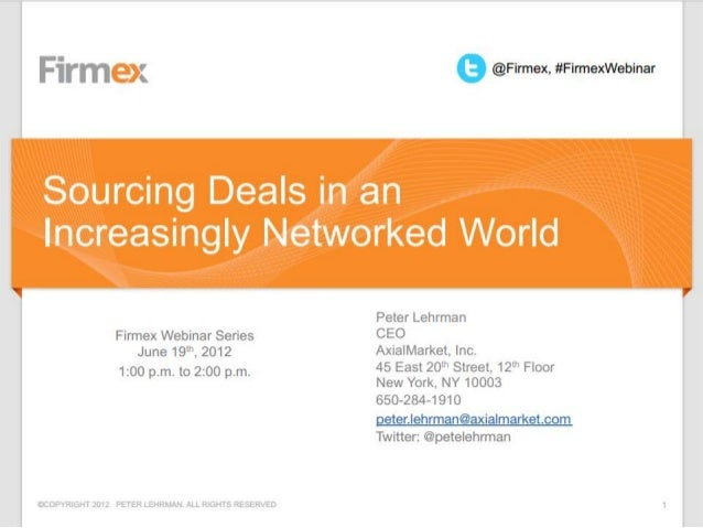 Sourcing Deals in an Increasingly Networked World