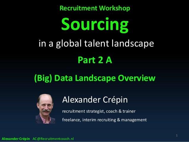 Recruitment Workshop Sourcing in a global talent landscape Part 2 A (Big) Data Landscape Overview 1 Alexander Crépin recru...