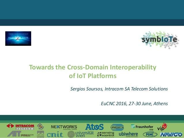 © 2016 – The symbIoTe Consortium Towards the Cross-Domain Interoperability of IoT Platforms Sergios Soursos, Intracom SA T...