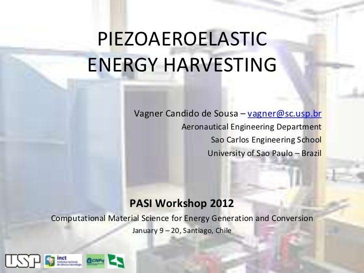 PIEZOAEROELASTIC         ENERGY HARVESTING                     Vagner Candido de Sousa – vagner@sc.usp.br                 ...
