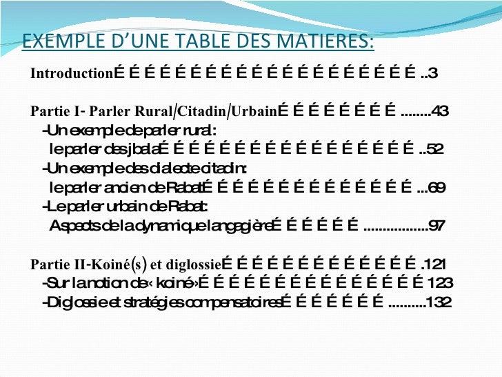 Sommaire et tables de mati res - Exemple table des matieres ...