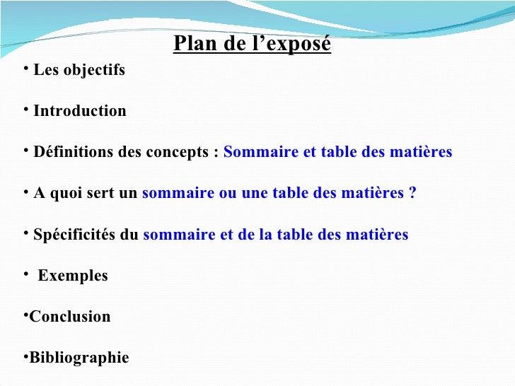 Sommaire Et Tables De Matiéres