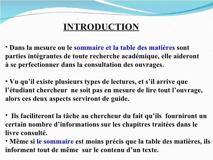 Sommaire et tables de mati res - Difference entre sommaire et table des matieres ...