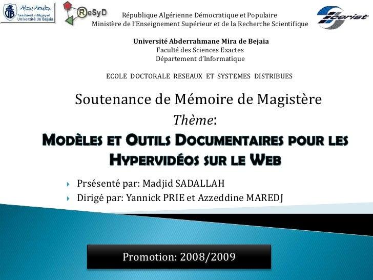 République Algérienne Démocratique et Populaire       Ministère de l'Enseignement Supérieur et de la Recherche Scientifiqu...