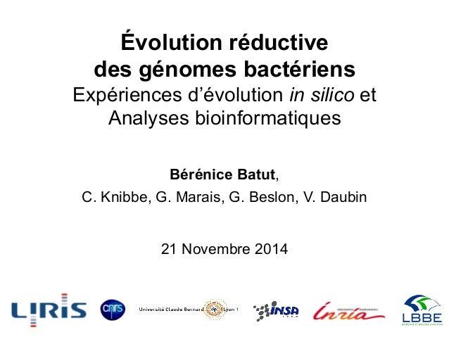 Évolution réductive des génomes bactériens Expériences d'évolution in silico et Analyses bioinformatiques Bérénice Batut, ...