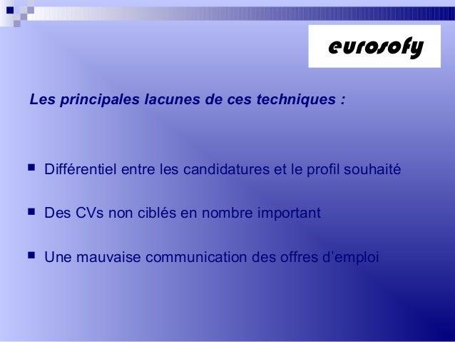 Les principales lacunes de ces techniques : Différentiel entre les candidatures et le profil souhaité Des CVs non ciblés...