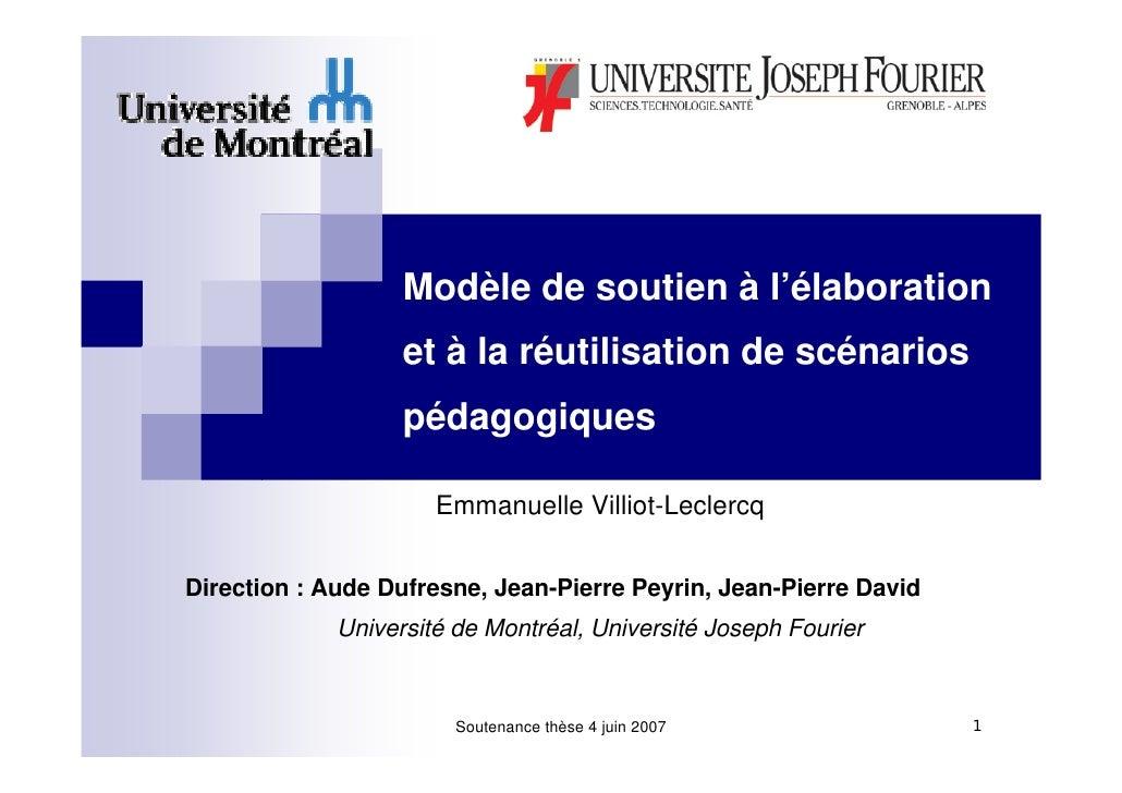 Modèle de soutien à l'élaboration                    et à la réutilisation de scénarios                    pédagogiques   ...