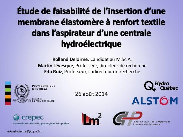 26 août 2014 Rolland Delorme, Candidat au M.Sc.A. Martin Lévesque, Professeur, directeur de recherche Edu Ruiz, Professeur...