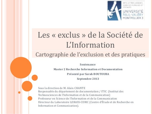 Soutenance Master 2 Recherche Information et Documentation Présenté par Sarah BOUTOUBA Septembre 2013 Sous la direction de...