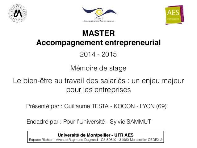 MASTER ! Accompagnement entrepreneurial Université de Montpellier - UFR AES! Espace Richter - Avenue Raymond Dugrand - CS ...