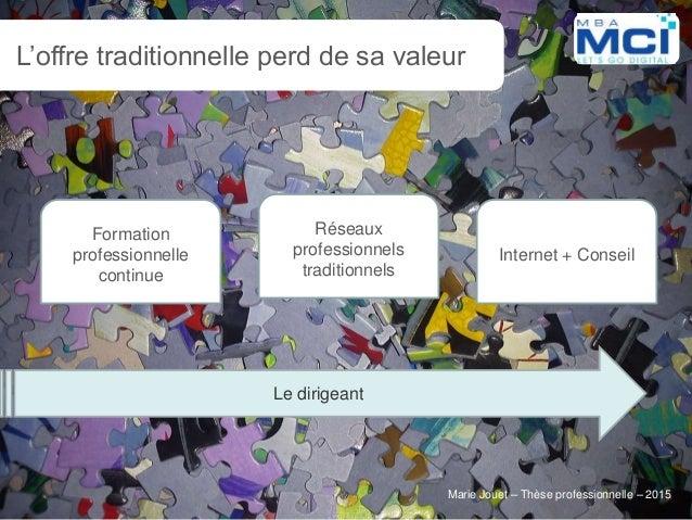 Marie Jouet – Thèse professionnelle – 2015Marie Jouet – Thèse professionnelle – 2015 L'offre traditionnelle perd de sa val...