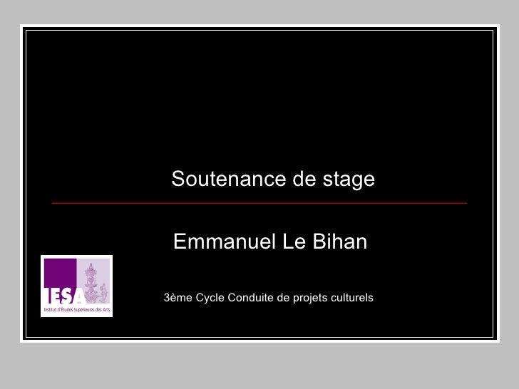 Soutenance de stage Emmanuel Le Bihan 3ème Cycle Conduite de projets culturels