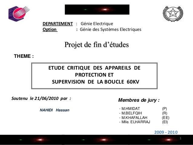 DEPARTEMENT : Génie ElectriqueOption : Génie des Systèmes ElectriquesNAHIDI Hassan2009 - 20101ETUDE CRITIQUE DES APPAREILS...